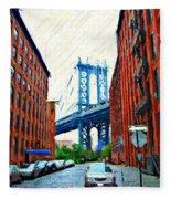 Sketch Of Dumbo Neighborhood In Brooklyn Fleece Blanket