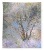 Sketch Of Halation Effect Through Trees Fleece Blanket