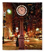Sketch Of Midtown Clock In The Snow Fleece Blanket