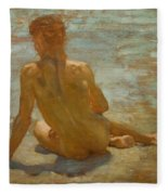 Sketch Of Nude Youth Study For Morning Spelendour Fleece Blanket