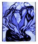 Sketch Of Statue In Blue Fleece Blanket