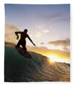 Skimboarding At Sunset I Fleece Blanket