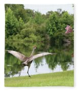 Skipping Sandhill Crane By Pond Fleece Blanket