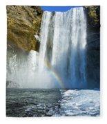 Skogafoss Waterfall Iceland In Winter Fleece Blanket