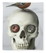 Skull And Bird Fleece Blanket
