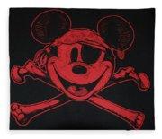 Skull And Bones Mickey In Red Fleece Blanket