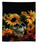 Skull And Flowers Fleece Blanket