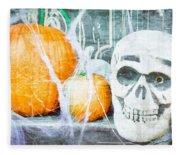 Skull And Pumpkin Fleece Blanket
