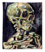 Skull Of A Skeleton With Burning Cigarette Fleece Blanket