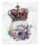 Skull Queen With Flowers Fleece Blanket