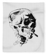 Skull Smoking A Cigarette Fleece Blanket
