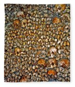Skulls And Bones Under Paris Fleece Blanket