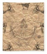 Skulls In Grunge Style Fleece Blanket