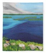 Serene Blue Lake Fleece Blanket