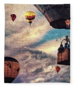 Sky Caravan Hot Air Balloons Fleece Blanket
