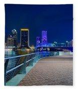 skyline and river coast scenes in Jacksonville Florida Fleece Blanket