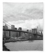 Skyline Nyc Brooklyn Bridge Bw Fleece Blanket