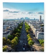 Skyline Of Paris, France Fleece Blanket