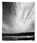 Skyscape At Carmel Beach B And W Fleece Blanket