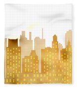 Skyscrapers - Panorama Of Modern Skyscraper Town Fleece Blanket
