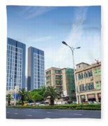 Skyscrapers And Road In Downtown Xiamen City China Fleece Blanket