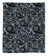Slate Gray Paisley Design Fleece Blanket