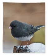 Slate Junco Feeding In Snow Fleece Blanket