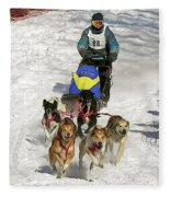 Sled Dogs In Action Fleece Blanket