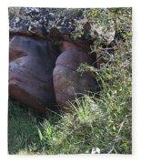 Sleeping In The Jungle - Stone Face In Forest Fleece Blanket