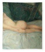 Sleeping Naked Woman Fleece Blanket