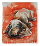 Sleeping Spaniel On The Red Carpet Fleece Blanket