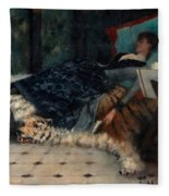 Sleeping Woman With A Book Fleece Blanket