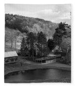 Sleepy Hollows Farm Woodstock Vermont Vt Pond Black And White Fleece Blanket