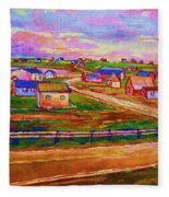 Sleepy Little Village Fleece Blanket