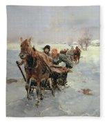 Sleighs In A Winter Landscape Fleece Blanket