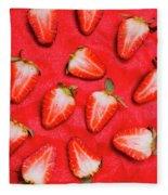 Sliced Red Strawberry Background Fleece Blanket