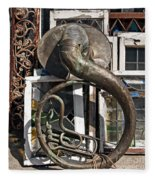 Slightly Worn Out Vintage Tuba Seeks New Home Fleece Blanket