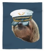 Sloth Aviator Glasses Captain Hat Sloths In Clothes Fleece Blanket