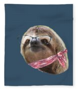 Sloth Black Glasses Red Scarf Sloths In Clothes Fleece Blanket