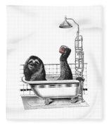 Sloth In Bathtub Taking A Shower Fleece Blanket