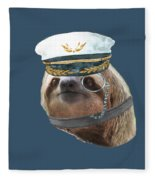 Sloth Monacle Captain Hat Sloths In Clothes Fleece Blanket