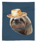 Sloth Monacle Straw Sloths In Clothes Fleece Blanket