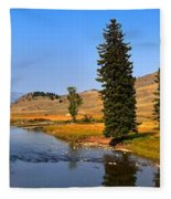Slough Creek Afternoon Panrama Fleece Blanket