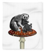 Slow Loris With Antique Camera Fleece Blanket