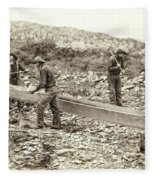 Sluice Box Placer Gold Mining C. 1889 Fleece Blanket