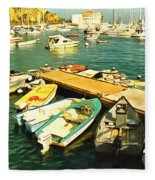 Small Boat Dock Catalina Island California Fleece Blanket