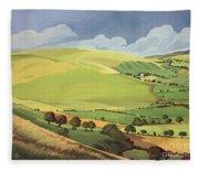 Small Green Valley Fleece Blanket
