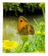 Small Heath Butterfly Fleece Blanket