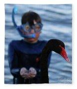 Small Human Meets Black Swan Fleece Blanket