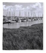 Small Sailboat Harbor Monochrome  Fleece Blanket